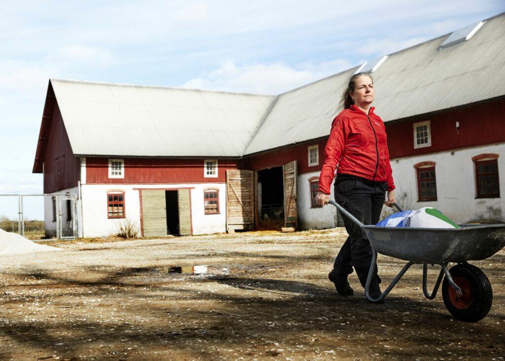 Kvinna på gård med skottkärra